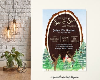Buck and Doe Sip and See Invitation, Woodland Sip and See, Sip and See Boy, Baby Boy Sprinkle, Doe & Buck Baby Shower, Forest Sip n See