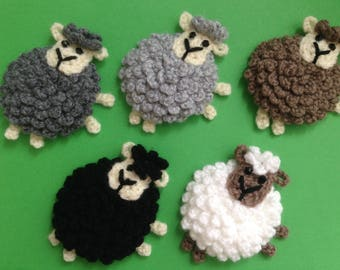 Crochet sheep applique,motif,embellishment,scrapbooking,sewing,choice of colors
