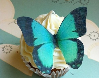 EDIBLE Butterflies The Original - Large Turquoise - Cake & Cupcake toppers - PRECUT and Ready to Use