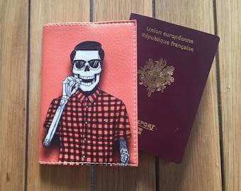 Wallet Passport Rose leather - skeleton