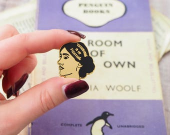 Virginia Woolf Enamel Pin - Feminist Enamel Pin Badge  - Geek Gift for Book Lover - Book Pin - Library - Literature - Feminism - Girl Power