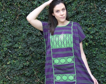 Purple with lime green  embroidery Huipil Dress Handwoven