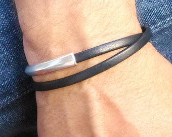 Navy Blue Leather Wrap Bracelet, Blue Bracelet for Men, Double Wrap Leather Jewelry, Mens Leather Bracelet, Magnetic Clasp Bracelet