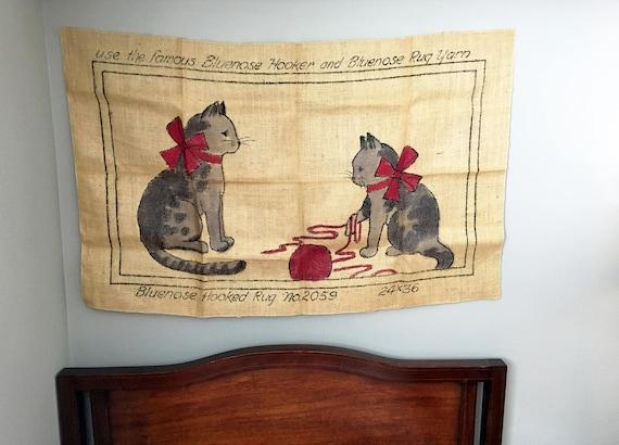 Vintage Hooked Rug Cat Pattern/Printed Burlap Canvas/Primitive