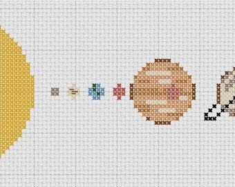 Small Solar System Cross Stitch Pattern Simple & Fun PDF