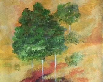 Fantasy Landscape Original Acrylic Painting Art Trees  14 X 11