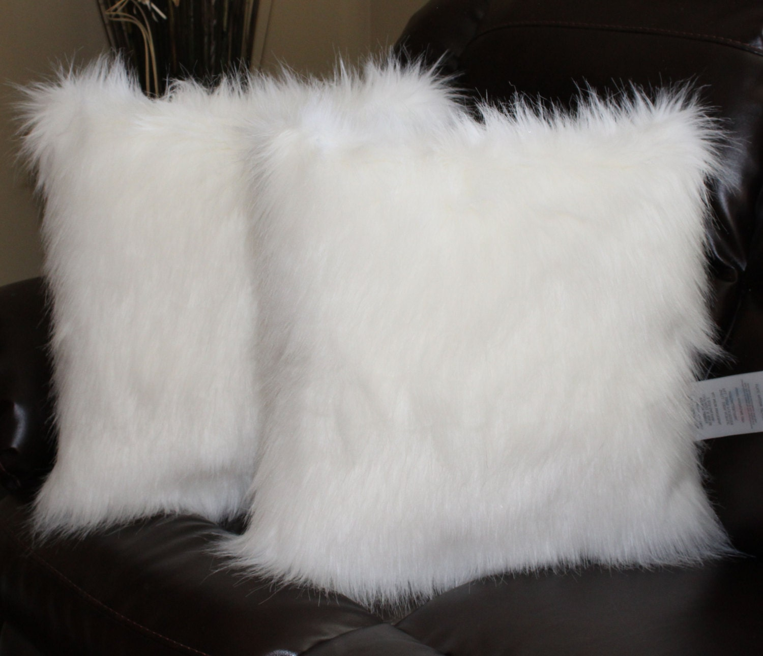 Faux Fur Pillow Cover Arctic Fox White 18 x 18 in Set of 18
