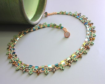 Tutorial - Tropical Island Necklace - Tila and Superduo beading tutorial