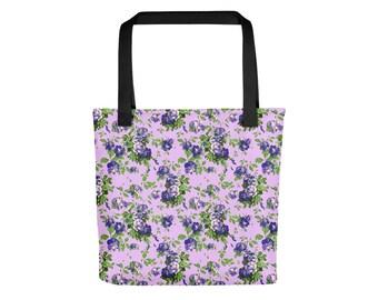 Blue Purple Rose Tote Bag | Floral Tote Bag Bohemian Tote Bag Rose Bag Flower Bag Pastel Grunge Bag Boho Bag Festival Bag Shoulder Bag
