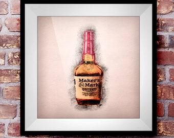 Makers Mark Straight Bourbon - Crosshatch Whisky Wall Art