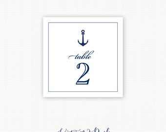 Anchor Table Numbers, Preppy Anchor Nautical Style Table Number, Rehearsal Dinner Table Numbers, Printed Table Numbers