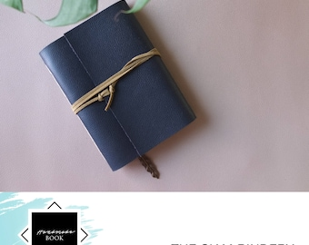 Hand-bound faux leather notebook