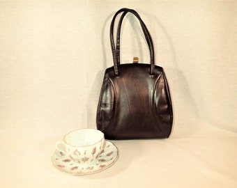 Brown Leather purse, CMS Vintage handbag Leather covered metal frame, gold tone clasp, double handle straps