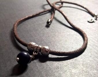 Men's Lapis necklace, Natural Lapis Lazuli stone rope surfer necklace for men