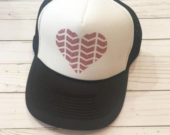 Pink Chevron Heart Hat