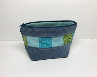 Small Denim Patchwork Zippered Pouch