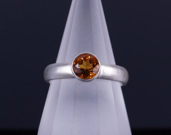 Golden Yellow Citrine 6mm Round Bezel Sterling Silver Ring