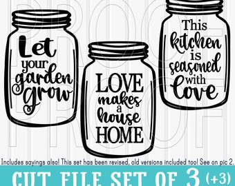 SVG Files Set of 3(+3) cut files mason jar cut files--includes svg, png, and jpg formats! home svg love svg jar svg silhouette