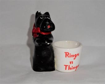 Scottish Terrier Ring Holder-Scotty Dog Bedside Rings N Things Container-Black Puppy-Pooch Sitting-Begging-Vanity-Orphaned Treasure-B120617R