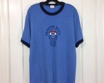 1994 Beastie Boys ABA Atwater Basketball Association t-shirt size large 20x27 heather blue ringer punk rock hip hop skater ill communication
