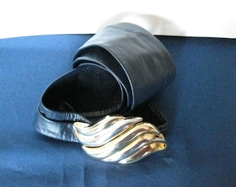 Navy Blue Sash Cinch Liz Claiborne Wide Belt Large Vintage 1980s