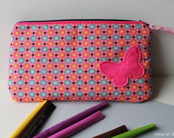 School Kit cotton Kit flat rectangular pink, girl school supply, butterfly, Pencil Pouch Kit, girl accessory