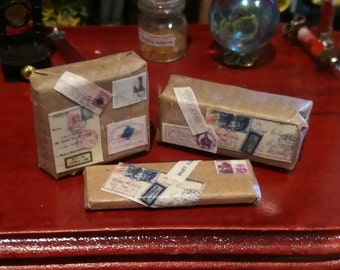 Miniature 1:12 set 3 postal packages for doll houses, magic shop witch house.
