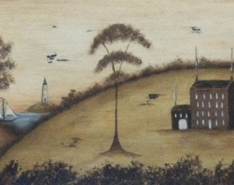 Olde Cape Cod, a vintage style New England inspired Primitive Folk Art Coastal Ocean Print by Donna Atkins