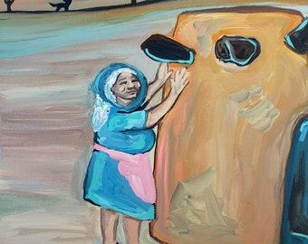 "Adobe Woman~ orginal acrylic painting on 8"" x 10"" canvas"