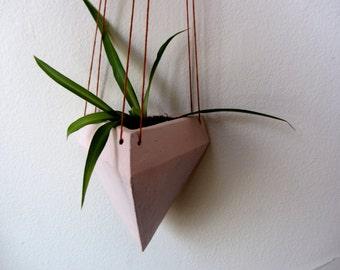 handmade diamond shaped geometric pink ceramic hanging planter