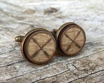 Cufflinks - Rustic Outdoor Wedding / Arrows Cuff Links in Bronze & Walnut / Groomsman Gifts