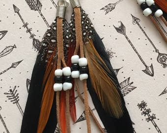 Long black feather earrings with beaded pearls
