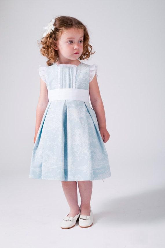 Vestido para niña de bodas en color azul claro con estampado