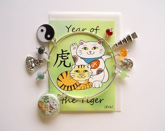Maneki Neko Year of the Tiger Expandable Stackable Bangle Charm Bracelet with ACEO Card
