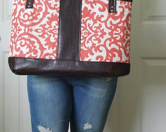 Coral Dark Brown Faux Leather Handbag, Tote, Purse, Travel Bag, Diaper Bag, Laptop Bag, Large Handbag, Work Bag, Damask Print, Gift Idea