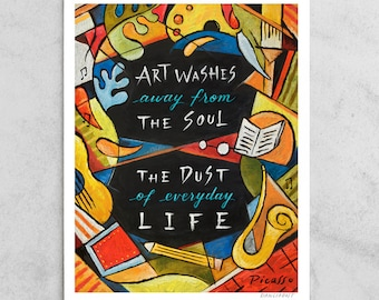 """Pablo Picasso Print, """"Art Washes the Dust"""" Artist Quote, Cubism, Red, Black & Yellow, Everyday Life, Chalkboard Art, 8x10, 11x14, 24x30"""