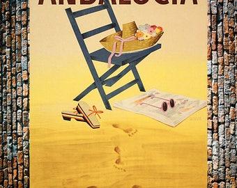 Andalucia Sandy Beach with Footprints, Vintage Art, Giclee Art Print, fine Art Reproduction