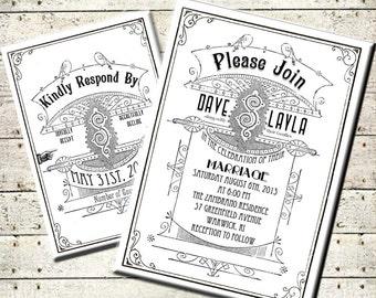 Printable DIY Art Deco Vintage Modern Wedding Invitation Suite - Hollywood - Black White - Digital Download -  Personalized Invitation