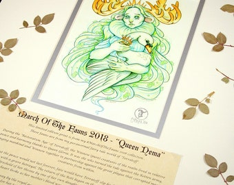 Queen Nema Story Edition- MarchOfTheFauns 2018 Limited Edition Double Matted Faun Print with Story Scroll