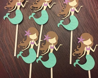 Mermaid cupcake toppers/ under the sea cupcake toppers/ set of 12