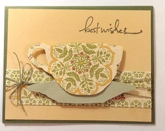 Best Wishes, Coffee, Happy Birthday, Coffee Cup, Tea Cup, Handmade, One of a Kind, Unique, Card for a Friend, Pretty