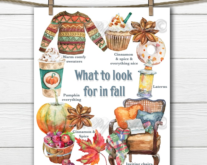 Adorable Digital Fall Graphic, leaves, Sweaters, Pumpkins, Fall Pillow, Printable Graphic Transfer Image 0117