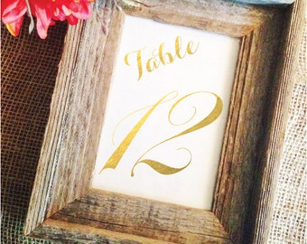 Metallic Gold Table Numbers Gold Wedding Table Numbers Gold  Black or Gold Wedding Decor (Frame NOT included)
