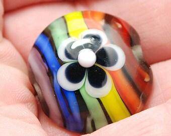 Rainbow Striped Lampwork Glass Bead - Flower Power