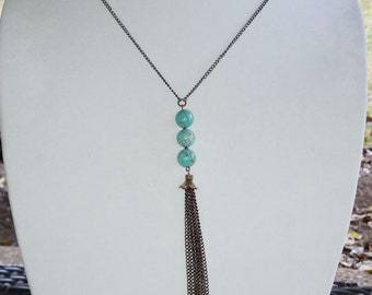 Simple Turquoise and Bronze Necklace with Bronze Chain Tassel