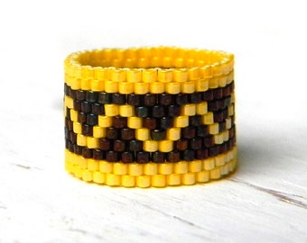 Unusual beaded ring Geometric design Seed bead ring Colorful ring Summer everyday ring Unusual beaded jewelry Seed bead jewelry Modern ring