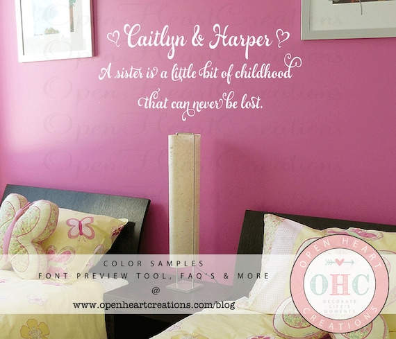 Twin Baby Girl Quotes: Sister Wall Decal Quotes Baby Nursery Twin Girls Teen Vinyl