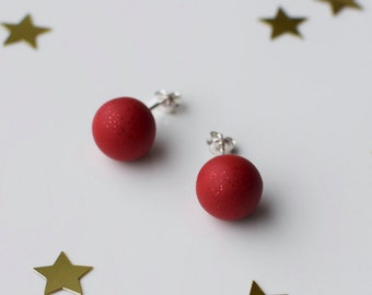 Red studs, Red Post earrings, Small Round earrings, Matte Red studs, Ball earrings, Red stud earrings, Red Christmas gift, Christmas jewelry
