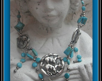 Horse Necklace with Matching Earrings , Turquoise and Silver tone Horses, Horse lovers ,