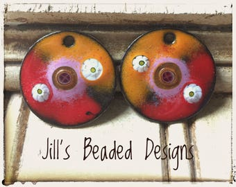 Enameled Copper Charms, Orange Red Pink Enamels, I'm On Fire, For making Earrings